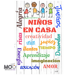 """Cuadro de Madera """"Niños en Casa"""""""