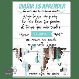 """Cuadro de Madera """"Viajar es Aprender"""""""