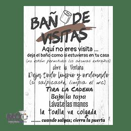 """Cuadro de Madera """"Baño de Visitas"""""""