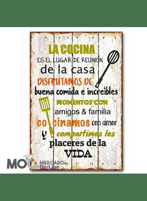 """Cuadro de Madera """"La cocina es el lugar"""""""