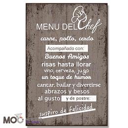 """Cuadro de Madera """"Menú del Chef"""""""
