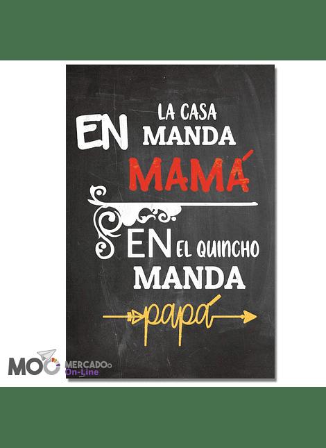 """Cuadro de Madera """"En el Quincho manda Papá"""""""