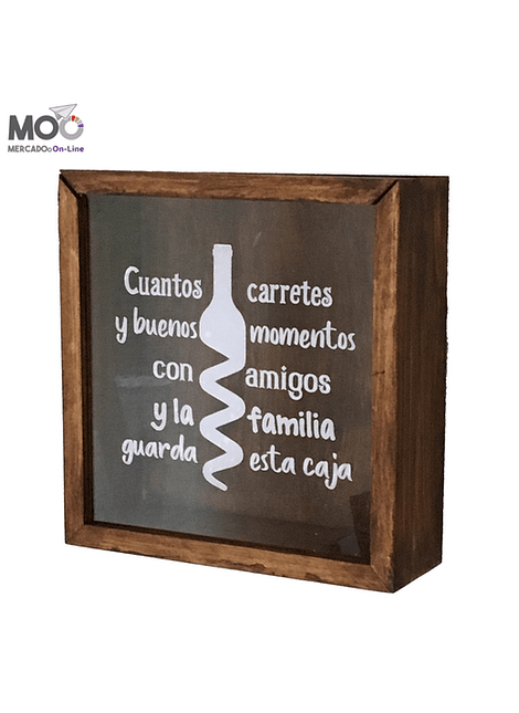 """Caja de Corchos 29x30 cm """"Carretes y Momentos"""""""