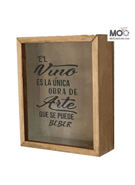 "Caja de Corchos 30x35 cm ""Vino Obra de Arte"""