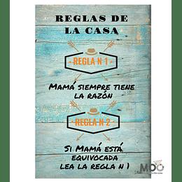 """Cuadro de PVC """"Regla de Mamá"""""""