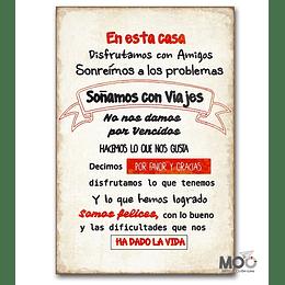 """Cuadro de Madera """"Disfrutamos con Amigos"""""""