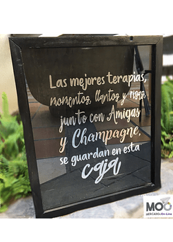 """Caja de Corchos 30x35 """"Champagne terapias..."""""""