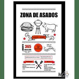 """Cuadro de Madera """"Zona de Asados"""""""