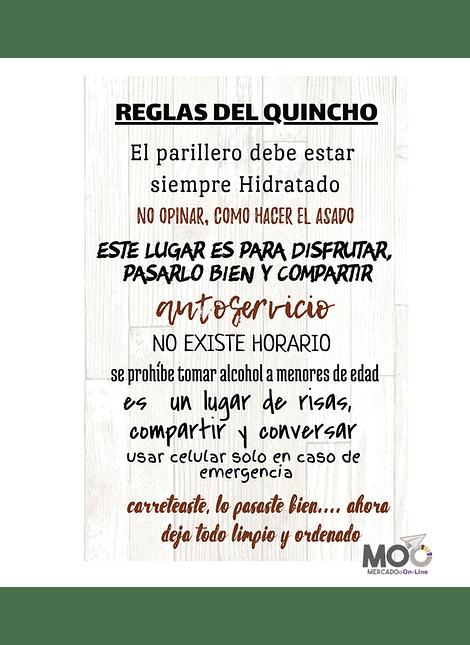 """Cuadro de Madera """"Reglas del Quincho"""""""