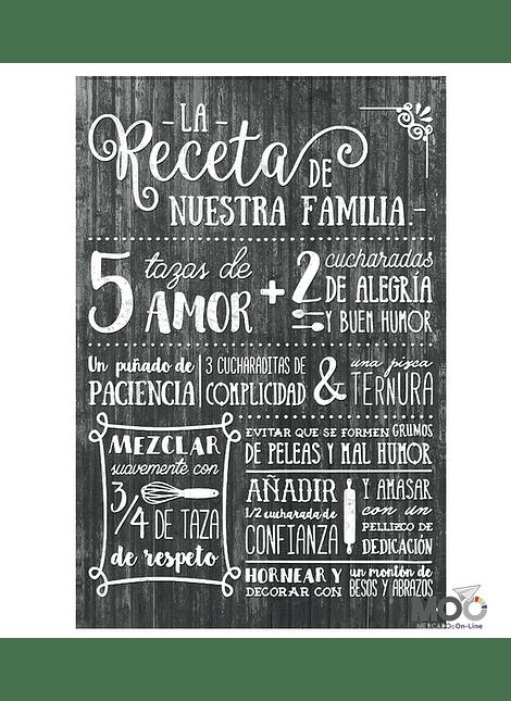 """Cuadro de Madera """"Receta de Nuestra Familia"""""""