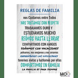 """Cuadro de Madera """"Reglas de Familia"""""""