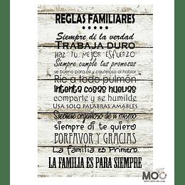 """Cuadro de Madera """"Reglas Familiares"""""""