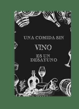 """Cuadro de Madera """"Una comida sin Vino"""""""