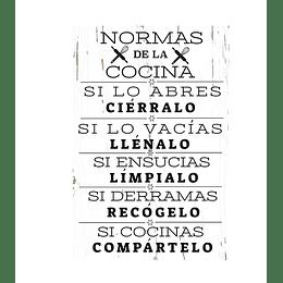 """Cuadro de Madera """"Normas de la Cocina"""""""
