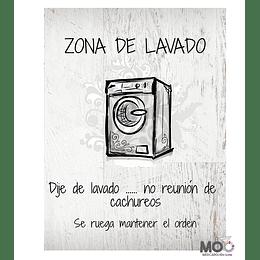 """Cuadro De Madera 30x40 """"Zona de Lavado"""""""