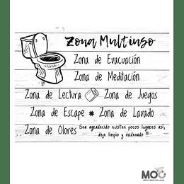 """Cuadro de Madera 40x30 """"Zona Multiuso"""""""