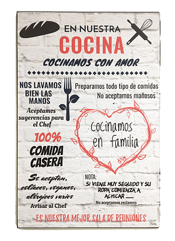 """Cuadro de Madera """"En Nuestra Cocina"""""""