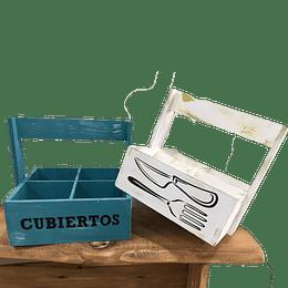 Porta Cubiertos de Madera Vintage
