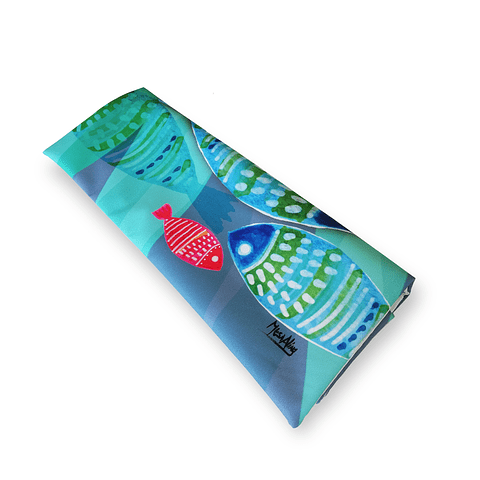 Funda cojín peces turquesa felpa