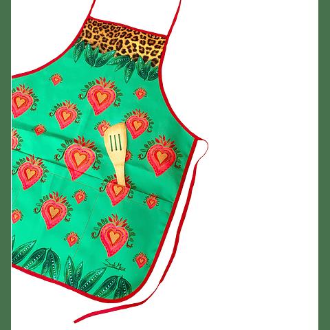 Delantal Corazón Print green