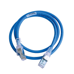 Patch Cord CAT. 6A 0,90 m Azul / Blanco Blindado LSZH