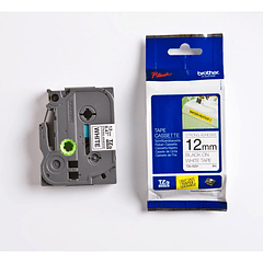 Cinta Tze-S231 12mm extra adhesivo Negro/Blanco