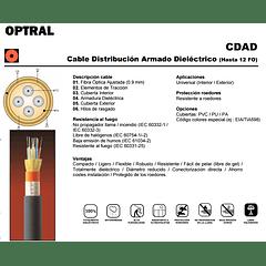 Cable de Fibra Optica 04x62 CDAD - TIA 598 / OM1