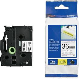 Cinta TZe-S261 36 mm Ngr/Blc Extra Adhesiva