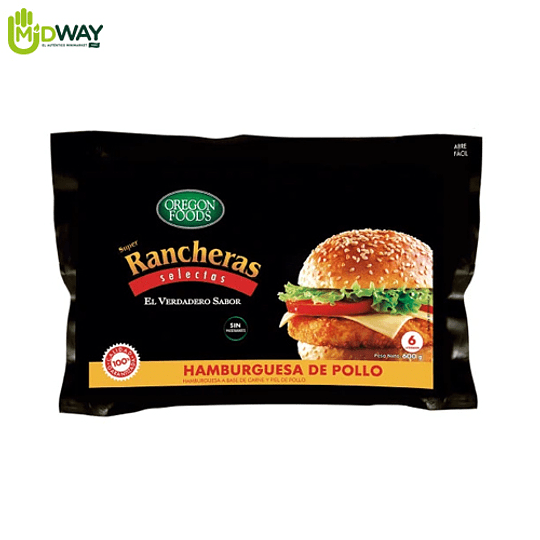 Hamburguesa de Pollo S. Rancheras OREGON FOODS - 600g