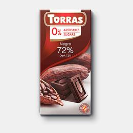 Chocolate Dark Torras, 72% Cacao, 75 g, Sin Azúcar, Sin Gluten