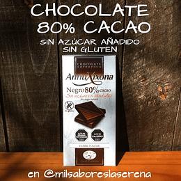 Chocolate Antiu Xixona, 80% Cacao, 100g, Sin Azúcares Añadidos, Sin Gluten