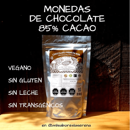 Monedas De Chocolate 85% S/Leche S/Gluten Cacao Soul 500g