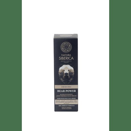 Crema Facial Antiarrugas Hombres, Bear Power, El Poder Del Oso, 50ml