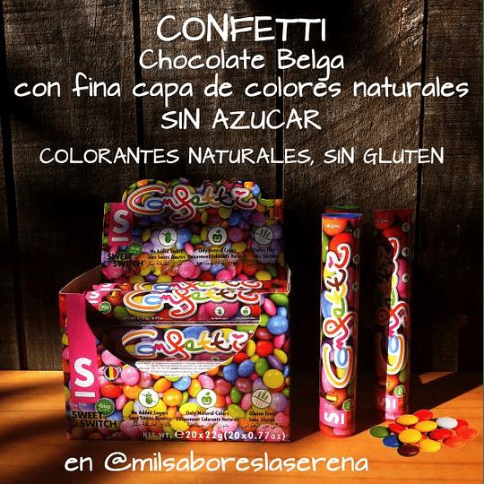 Confetti Sin Azúcar, Sin Gluten, 22g, Chocolate Belga Recubierto, Sweet Switch