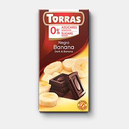Chocolate Banana Torras, 52% Cacao, 75 g, Sin Azúcar, Sin Gluten