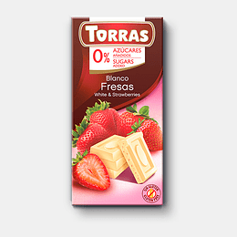 Chocolate Blanco Fresas Torras , 75g, sin azucar, sin gluten