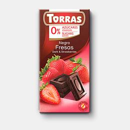 Chocolate Negro Fresas Torras, 75g, sin azucar, sin gluten