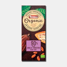 Chocolate Torras 90% Cacao, 175 g, Organic Bio, Sin Gluten, Sin Azúcares Añadidos