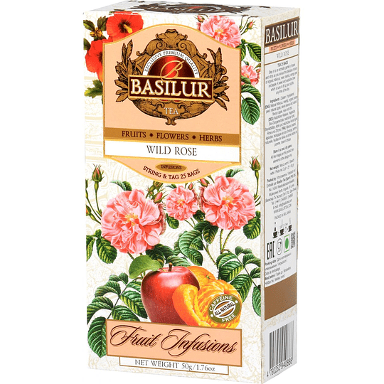 Infusión Rosa Salvaje - Wild Rose Infusions, 25 bolsitas, Basilur
