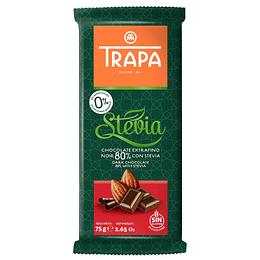 Chocolate Noir 80% con Stevia 75gr, Trapa