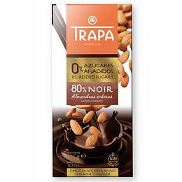 Chocolate Noir 80% con Almendras enteras 175gr, Trapa