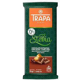 Chocolate con avellanas, leche y Stevia 75gr, Trapa