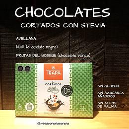 Pack Chocolates con Stevia,Noir, Avellanas y Blanco con Frutos del Bosque 115gr, Cortados Trapa