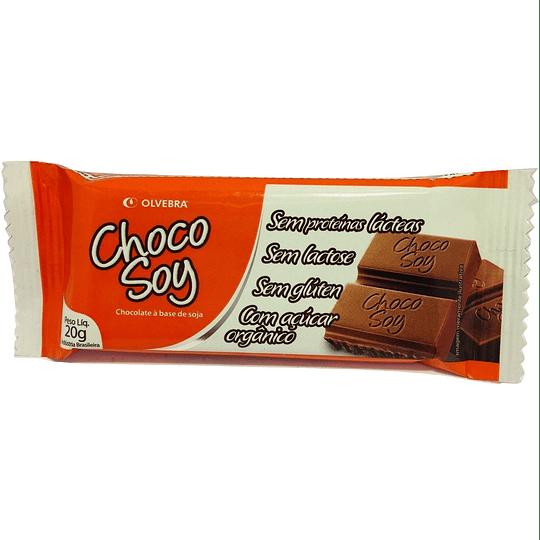 Choco Soy Barrita De Chocolate, 20 g Sin Lactosa, Sin Gluten, Azúcar Orgánica