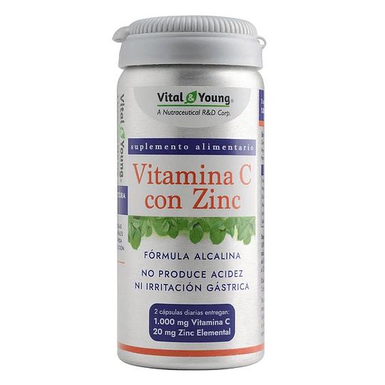 Vitmanina C + Zinc alcalina 90 cápsulas, Vital & Young