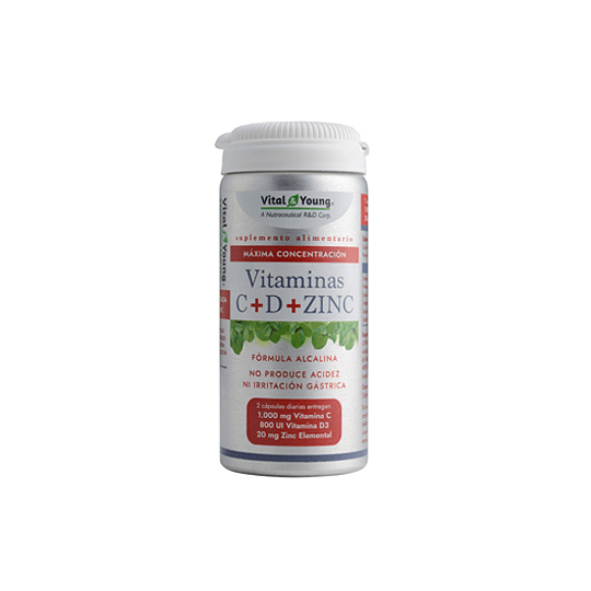 Vitmanina C + Vitamina D + Zinc, alcalina 60 cápsulas Vital & Young