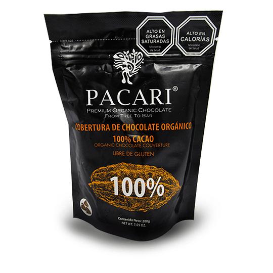 Cobertura de Chocolate Orgánico 100% Cacao 200g, Pacari - OFERTA