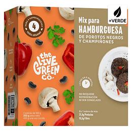Mix para Hamburguesas Vegetales, Porotos negros y champiñones, Green Burger