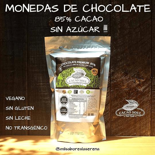 Monedas de Chocolate 85% Cacao Sin Azúcar, Cacao Soul