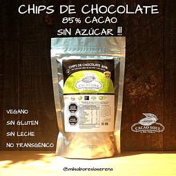 Chips de Chocolate 85% Cacao Sin Azúcar, Cacao Soul